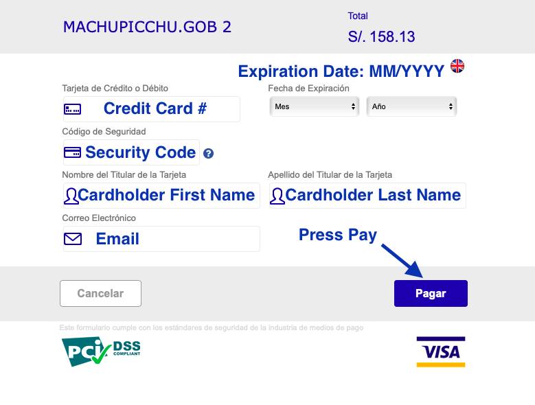 Machu PIcchu Tickets Credit Card