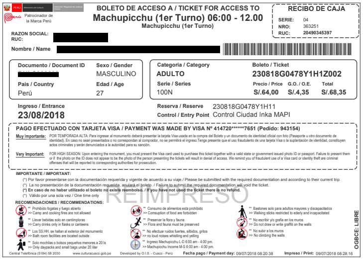 Machu Picchu Entrance Tickets