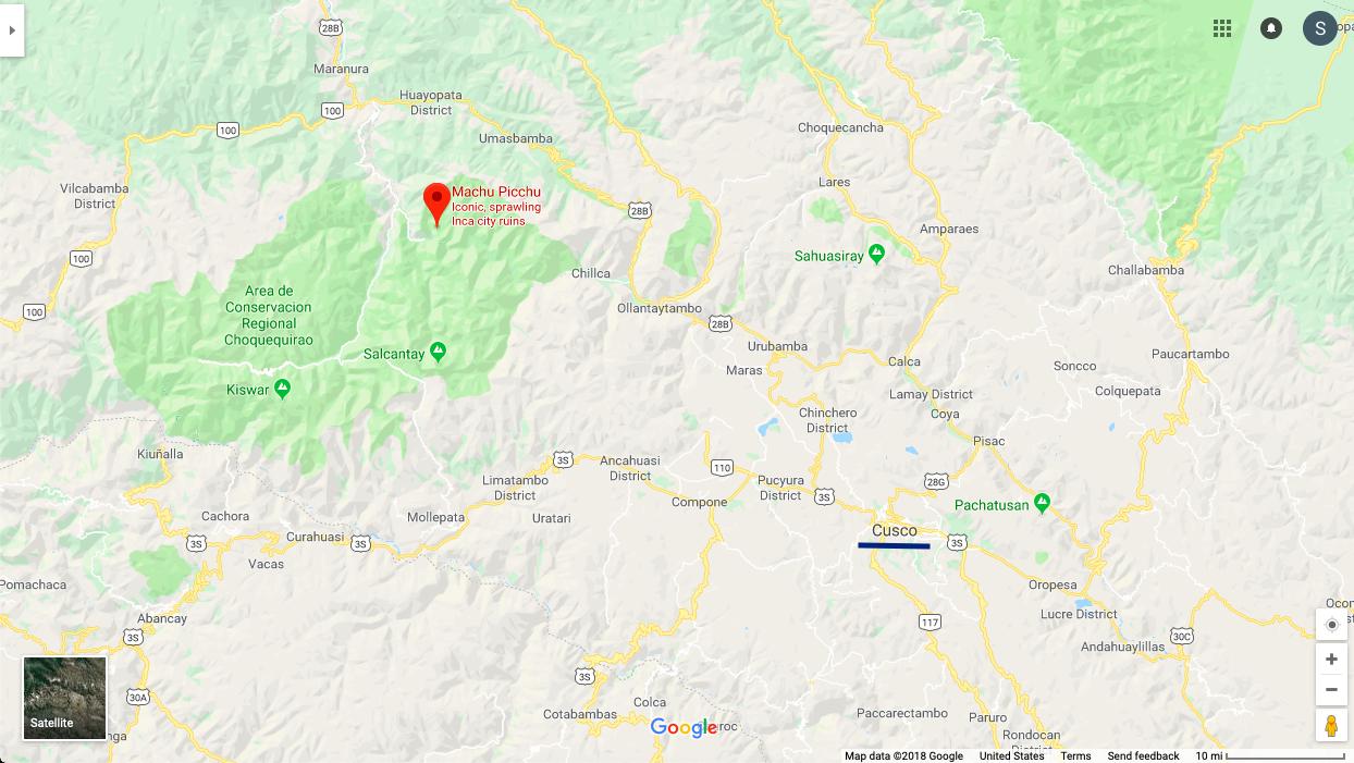 Machu Picchu Map Cusco