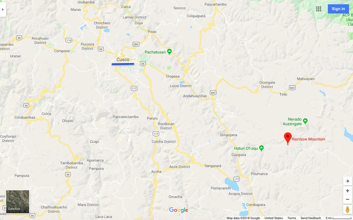 Rainbow Mountain and Cuzco Map