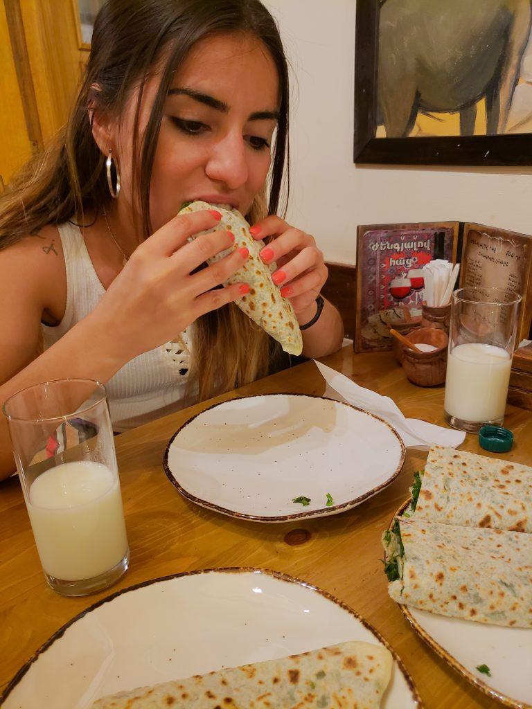 Yagmur Eating Yerevan